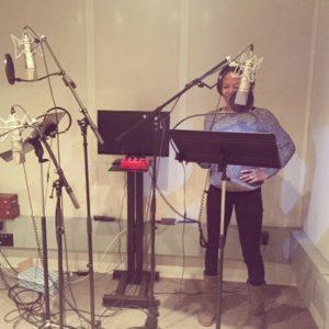 Jamila recording in the studio